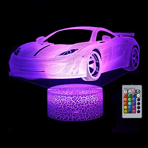 Car Gift for Boys, Racing Car 3D LED Illusion Lamp, Night Light for Boys, 16 Colors Dimmable USB Powered Touch Control with Remote, Creative Car Gifts for Boys Age 10