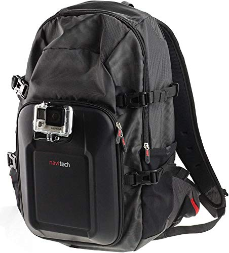 Navitech Action Camera Backpack & Red Storage Case with Integrated Chest Strap - Compatible with The IceFox 4K Action Camera