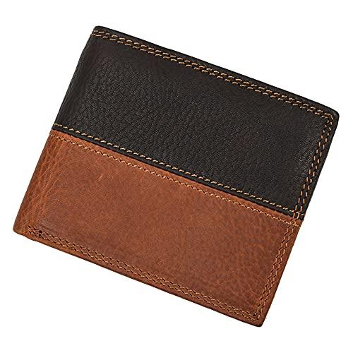 Monedero Billetera para Hombre, Color creativo de los hombres Color Patchwork Wallet Vintage Cuero genuino RFID Bloqueo 6 Titular de la tarjeta de crédito Monedero de bolsillo Bifolle Cartera corta Mo