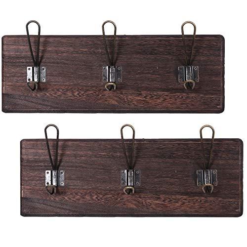 Comfify Rustikale Wandgarderobe mit 3 robusten Haken - 2er Set - Klassischer Holz-Garderobenständer für den Eingangsbereich - Rustikaler Garderobenständer für Mäntel, etc. -88.9cm x 15.59cm - Braun