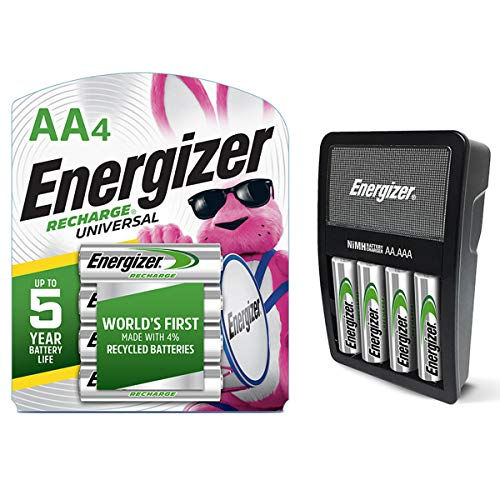 Energizer Rechargeable AA and AAA Battery Charger (Recharge Value) with 4 AA NiMH Rechargeable Batteries & Rechargeable AA Batteries, NiMH, 2000 mAh, Pre-Charged, 4 Count (Recharge Universal)