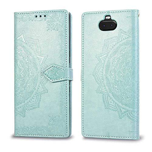 Bear Village Hülle für Sony Xperia 10 Plus, PU Lederhülle Handyhülle für Sony Xperia 10 Plus, Brieftasche Kratzfestes Magnet Handytasche mit Kartenfach, Grün