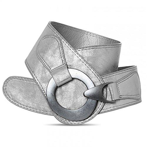 Caspar GU243 Cinturón Ancho para Mujer con Hebilla Grande de Metal