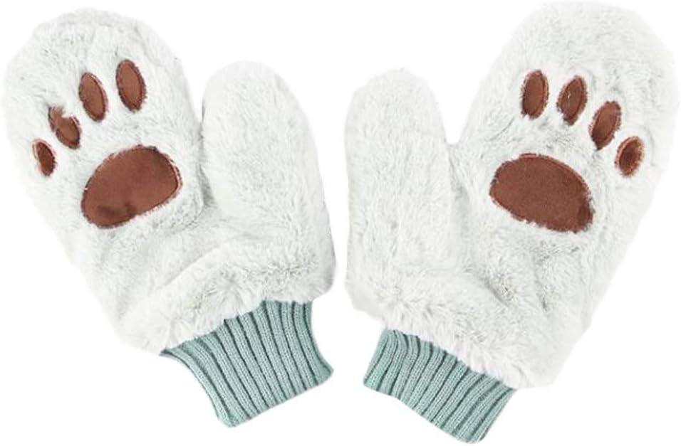 1 Pair Women Girls Cute Cat Paw Gloves Plush Warm Gloves Mittens Winter Accessories, Green