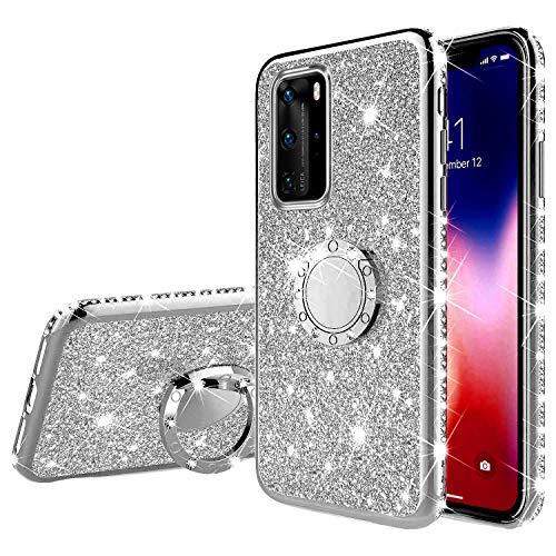 Kompatibel mit Huawei P40 Pro Hülle Silikon Glitzer Glänzend Bling Diamant Handyhülle mit Ring Ständer Kristall Strass Weiches TPU Stoßfest Schutzhülle Tasche Case für Huawei P40 Pro,Silber