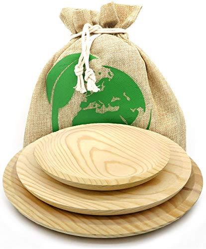 Conjunto 3 platos de pulpo, tamaño 28 24 y 20 cm. Plato de madera fabricado en Galicia, tamaños grande mediano y pequeño