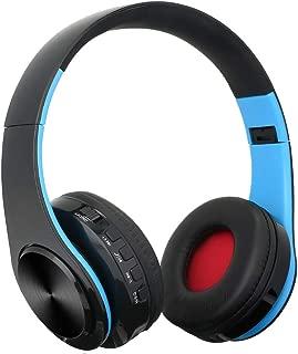 shiYsRL Bluetooth Headphones Over Ear Fashion Wireless Bluetooth Deep Bass Headphone Foldable Gaming Music Headset One Size Black+Blue