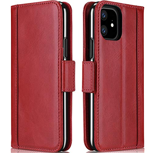 ProCase iPhone 11 Genuine Leather Case, Vintage Folio Flip Case with Card Holders Kickstand Leather Wallet Case for iPhone 11 2019 -Red