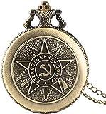 WEHOLY Montre de Poche pour Homme Vintage Bronze emblème Communiste Montre de Poche soviétique Faucille Marteau Design rétro Montres à Quartz Pokcet