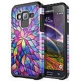 Yokata Funda rígida para Samsung Galaxy J3 2015/2016 J310 rígida carcasa rígida ultra fina Premium suave carcasa de alta definición Painting 2 en 1 duro protectora carcasa - flor arcoíris