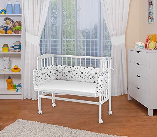 WALDIN Baby,Lettino culla,altezza regolabile,paracolpi e materasso,in 16 varianti,Superficie d'appoggio EXTRA lung. 90 x larg. 55 cm, bianco laccato,bianco/stella mix