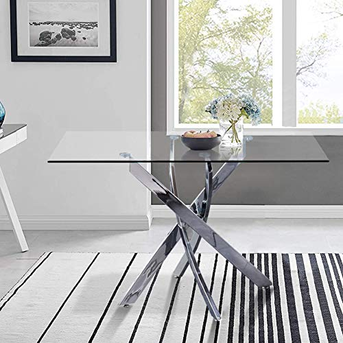 GOLDFAN Modern Glass Dining Table Rectangle Chrome Legs Ktichen Living Room Dining Table for Home Office Lounge