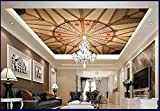 Mznm Photo Wallpaper 3D Ceiling Wallpaper Murals European Five-StarCeiling Decorative Painting Mural Wallpaper Decor-120X100Cm