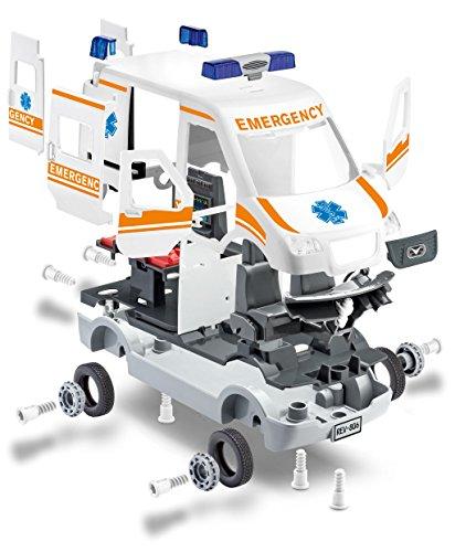 Revell 00806 Junior Kit Krankenwagen Auto Modellbausatz für Kinder zum Schrauben, robust zum Basteln und Spielen, ab 4+, kindgerecht, müheloses Verbinden weniger Teile, mit Aufklebern - AMBULANCE