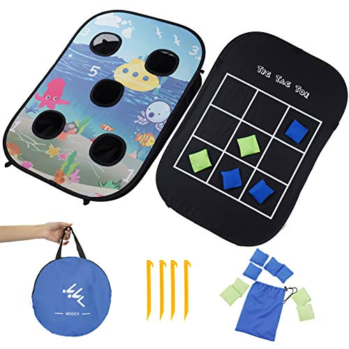 Collapsible Protable Cornhole Boards with 8 Cornhole Bean Bags Set , Tic Tac Toe Game 2 in 1 Board