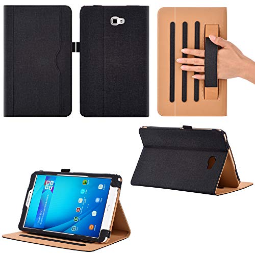 Premium Leather Cover Stand Protective Folio Case Compatiable With Samsung Galaxy Tab A6 10.1 T580/T585 With Handstrap And Cornor Protection