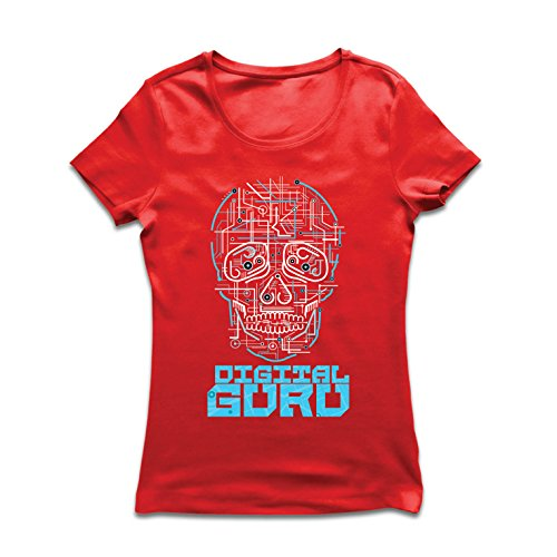 lepni.me Camiseta Mujer El gurú Digital - Ideas de Regalos de tecnología, computadora, Programador o Jugador (Large Rojo Multicolor)