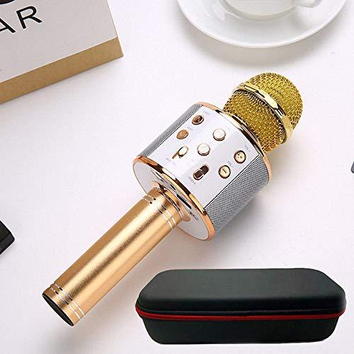 JVCAN Professionele draadloze karaokemicrofoon, luidspreker condensator microfono, tas Bluetooth Radio Studio Record Mic