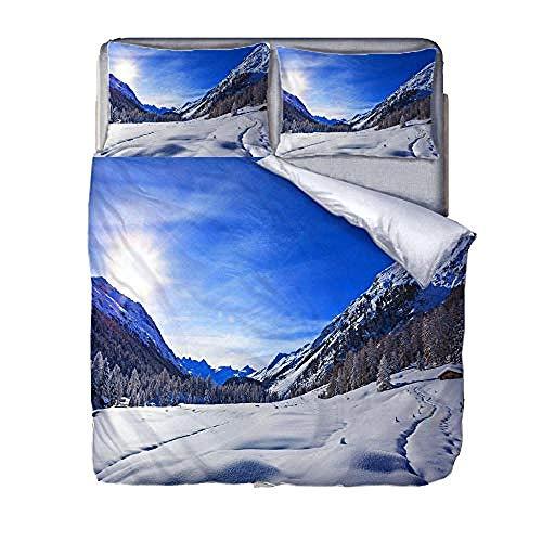 Funda Nórdica 140X200 Cielo Azul, 100% Microfibra 3D Juego De Cama con Fundas De Almohada, para Niños Y Adolescentes O Adultos Regalo De Cama.