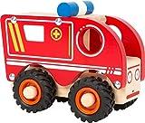 small foot 11076 Einsatzfahrzeug Krankenwagen aus Holz, mit Ladefläche und gummierten Rädern, ab 18 Monaten Spielzeug, Rot