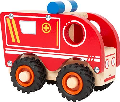 Small Foot- Ambulance Bois pour Les Enfants à partir de 18 Mois, certifiée 100% FSC, Convient également pour Jouer Jouets, 11076, Rouge