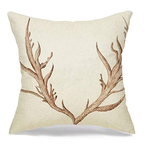 Throw Pillow Covers Case for Couch Sofa Cozy Animal Watercolor Horns Painting Creative Isolated Tribal Antlers Buffalo Head Deer Drawing Elk Pillowcase Home Decoration Soft Linen 20 x 20 Inch