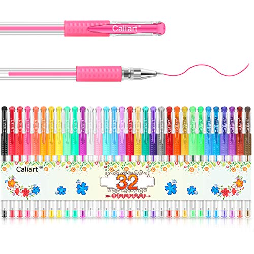 Gel Pens, Caliart 32 Colors Gel Pen Set, 40% More Ink Colored Gel