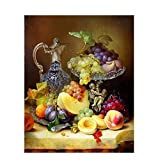 UPUPUPUP Fruits DIY Pintura al óleo by números Vintage Pintura acrílica sobre Lienzo Pintado a Mano decoración casera, Tworidc5-40X50Cm Enmarcado