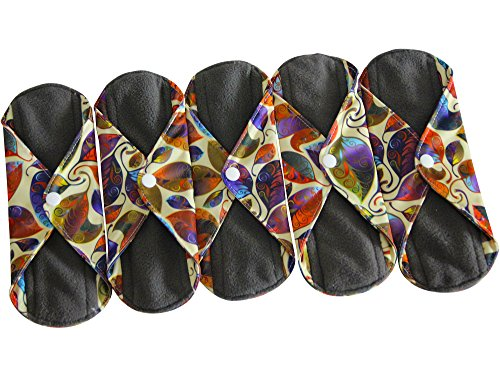 Sanitary Reusable Cloth Menstrual Pads by Heart Felt. XL 5 Pack Washable Natural Organic Napkins with Charcoal Absorbency Layer. Overnight XL Pads for Comfort Support and Incontinence