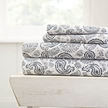 Simply Soft 4 Piece Sheet Set Coarse Paisley Patterned, Queen, Navy