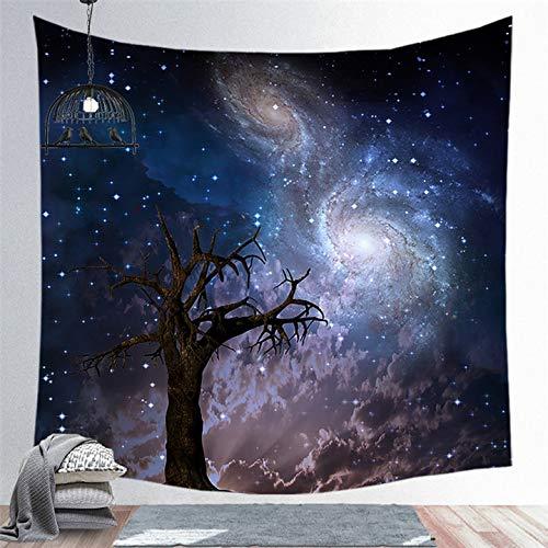 KHKJ Luna y Planetas Tapiz de Pared Creativo Oscuro brujería habitación cabecera astrología Manta decoración del hogar A7 200x180cm