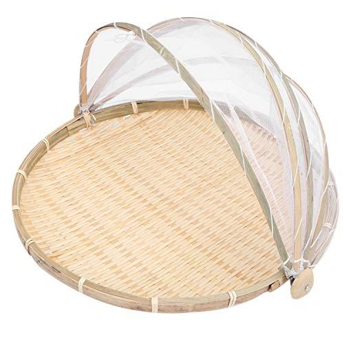 VOSAREA Zeltkorb aus Bambus für die Aufbewahrung von Obst Gemüse und Brot
