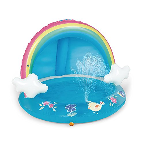 Rainbow Baby Pool, Rainbow Splash Pool with Canopy and Water Sprinkler for Kids, for Ages 1-3