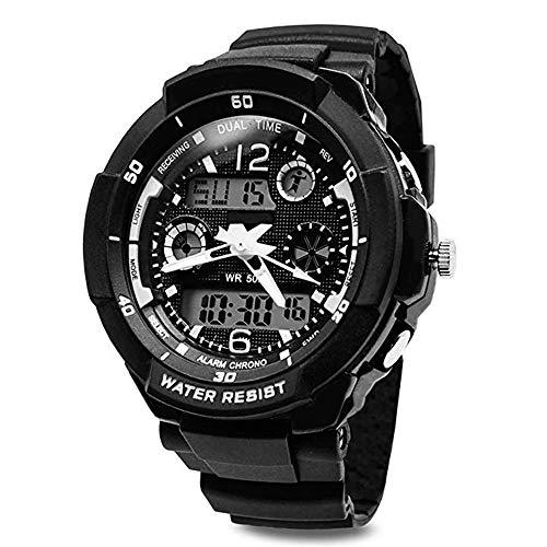 Wasserdichte Armbanduhr, Kinderuhr Digital Analog, Kinderarmbanduhren für Jungen/ Mädchen,Digitaluhr Jungen mit Stoppuhr, Wecker, Timer, LED-Licht und Kalender (Schwarz)