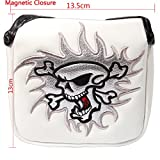 Crtystal Leather Skull Head Embroidery Style Golf Club Headcover Set Protector (White Square Putter Cover)