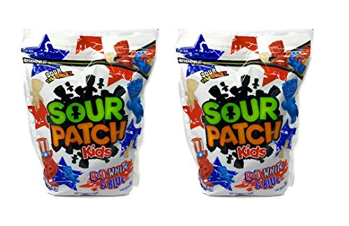 Sour Patch Kids Red, White, and Blue Limited Edition Candy - Pack of 2 Bags - 60.8 oz Total - 30.4 oz Per Bag - Stored in a Resealable Bag