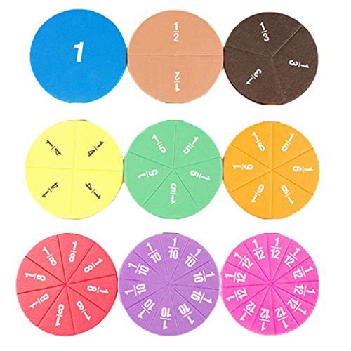 F Fityle Juguete de Matemáticas de Educación Temprana para Niños de Fracciones Circulares de 51 Piezas Sin Magnético