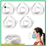 Soporte de Mascarilla 3D con Botones a Presión - Marco de Soporte Interno para Mascarilla - Más Espacio para Una Respiración Cómoda Proteja El lápiz Labial Lavable Reutilizable (Adulto) 5 pcs