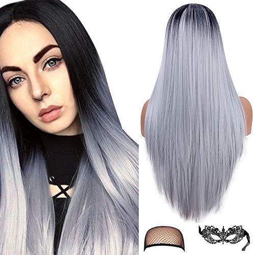 Ombre grijze pruik vrouwen zijdeachtige lange rechte pruik natuurlijke haarlijn middendeel 22 inch synthetische partij Halloween cosplay pruik voor vrouwen