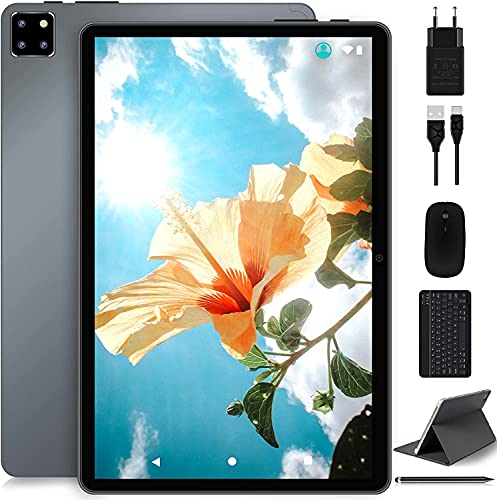 Tablet 10 Pulgadas 1.6 GHz Octa-Core 5G WI-FI Android 10.0 Pro Ultrar-Rápido 4GB RAM+64GB ROM (TF 128GB) MEBERRY Tableta, 1920 * 1200 FHD | 8000mAh | Face ID | GPS | Ratón & Teclado Y Más - Gris