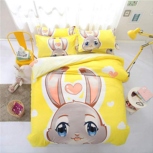 JOEYFAYE Children Cartoon Duvet Cover Set, Microfiber Bedding With Pillowcase 50 * 75cm, Zipper Closure, 230 * 260cm yellow