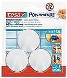 tesa Powerstrips Haken Small RUND - Selbstklebender Wandhaken für Glas, Kacheln, Holz, Kunststoff und andere Untergründe - Weiß