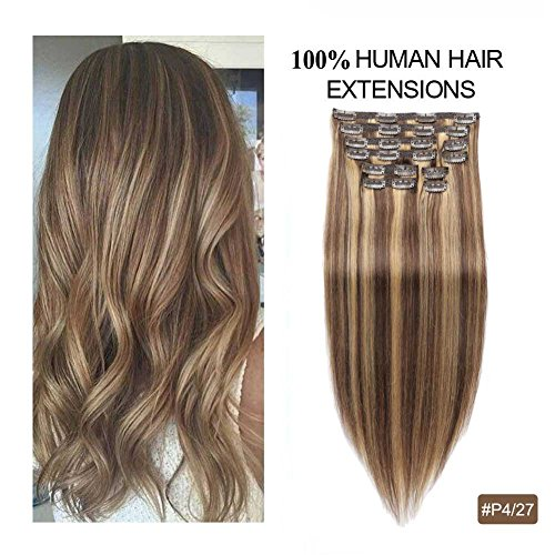 Double Weft Clip in Human Hair Extensions, Re4U Balayage Thick Hair Extensions Human Hair Clip in Extensions 18inch Highlight Blonde Multi Color Mixed Chocolate Brown(#4/27 10pcs 18' 150g)