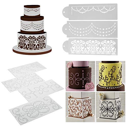 iSuperb 4 pcs Cake Stencils Cake Decorating Cake Molds Cookie Stencils Decorating Tools for Cake Baking Decorating Supplies 4 Cake Stencils