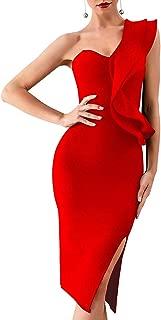 Women's One Shoulder Side Split Celebrity Cocktail Party Bandage Dress