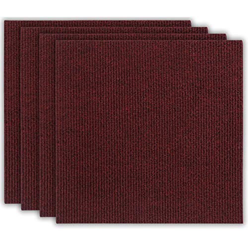 andiamo Teppichfliesen selbstklebend Teppichboden Bodenbelag Fliese à 50x50cm, Farbe:Rot, Größe:1 m²
