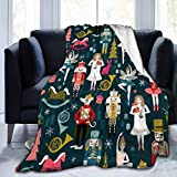AMHNF Christmas Nutcracker Flannel Blanket Light and Comfortable Bed Blanket Soft Blanket Accessory Sofa Suitable for All Seasons