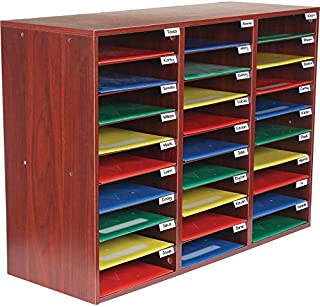 Really Good Stuff Classroom Mail Center - 27 Slots (Mahogany)