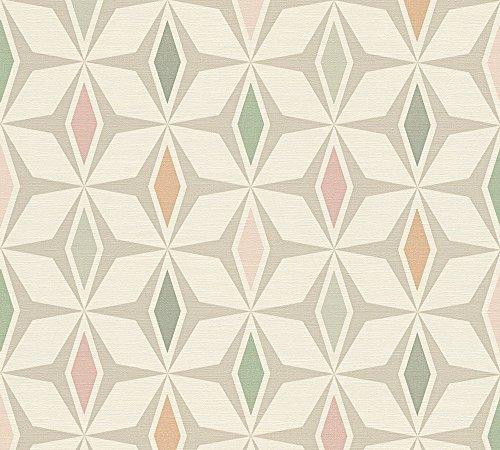 A.S. Création Vliestapete Around the world Tapete im skandinavischen Design 10,05 m x 0,53 m grau grün weiß Made in Germany 304762 30476-2