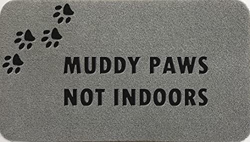 Muddy Paws Not Indoors - Felpudo sintético de nailon de fibra de coco, color gris claro, marrón, crema, verde